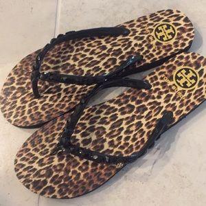 Tory Burch jeweled black sandals 10 nwt